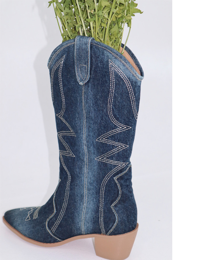 Denim Boots (2 Color/2 Type)