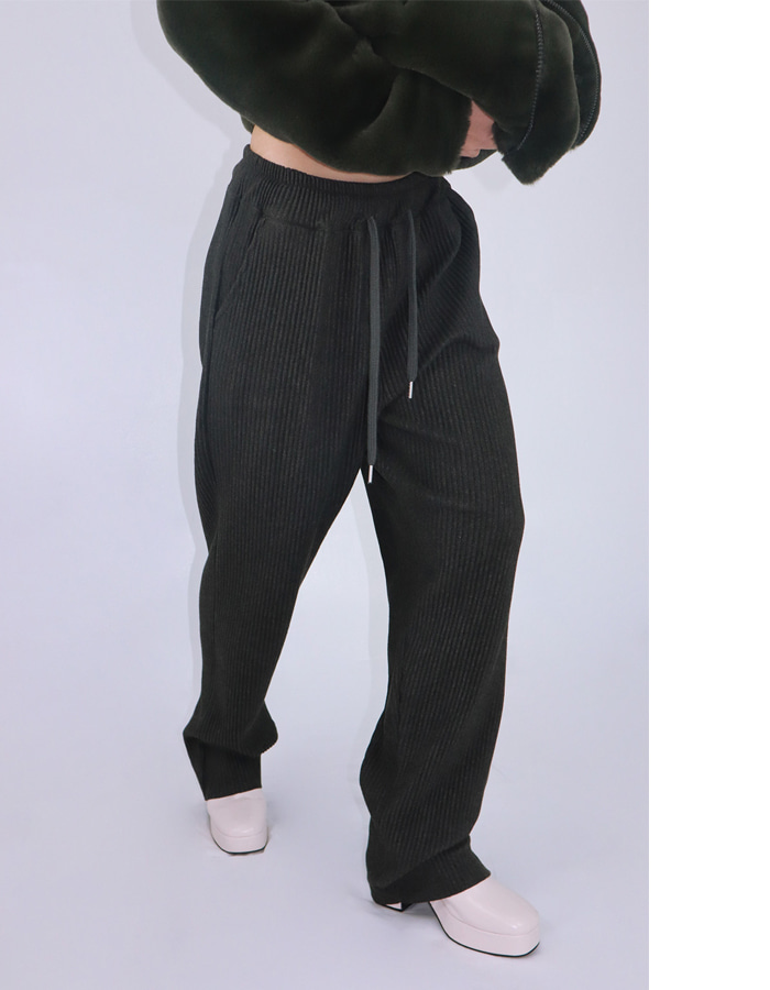 Unisex tapered pleats pants (2 color)